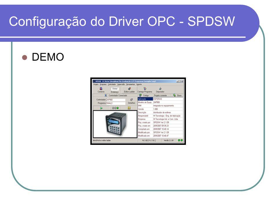DEMO Configuração do Driver OPC - SPDSW