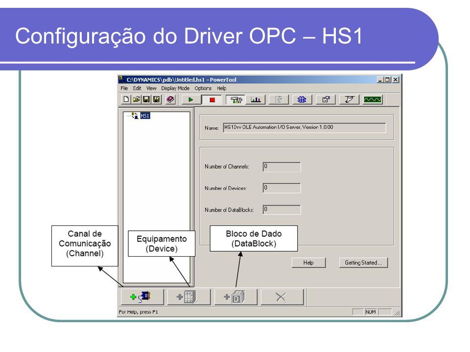 Utilizando HS1 com Clientes OPC Nome do servidor OPC: Intellution.HS1OPC Identificação do item: [Equipamento]:[Tipo][Posição] Ex: Se quisermos acessar a memória R10 do CLP, basta colocar identificação do item como: Device0:R10
