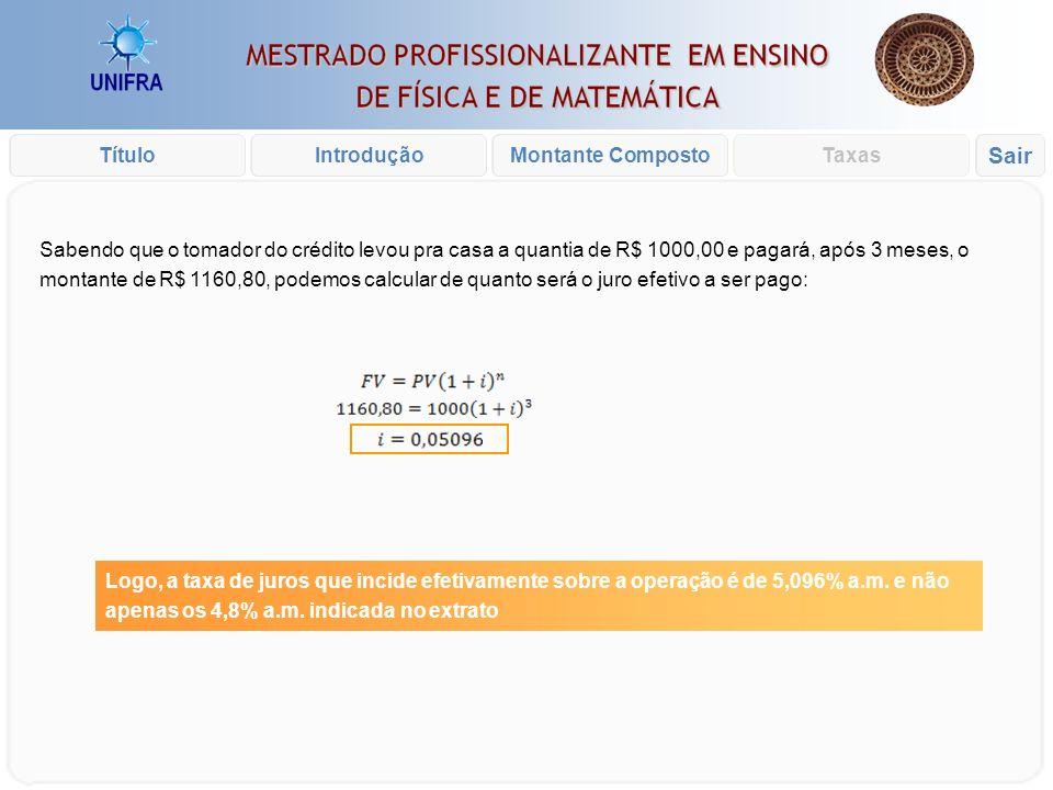 Introdução xxx Cálculo dos juros sobre um empréstimo de R$1000,00 durante 3 meses: Como sobre os R$ 1000,00 incide uma taxa administrativa de R$ 8,50,