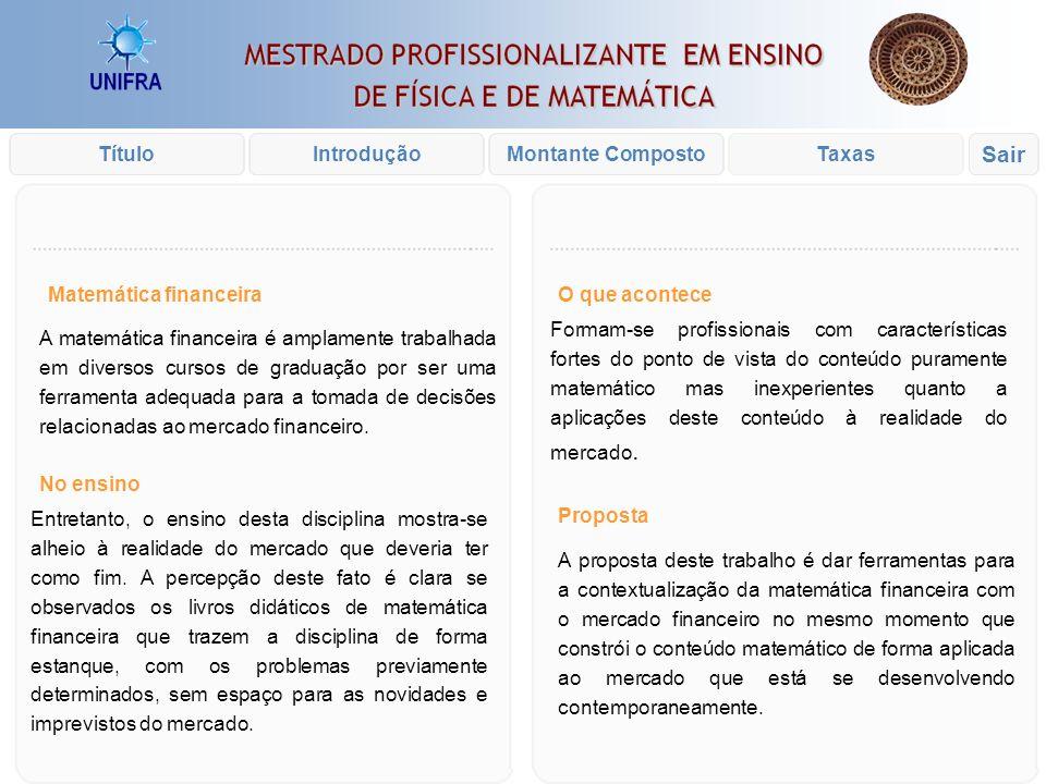 Introdução xxx Prof. Rodrigo Fioravanti Pereira Orientador: Dr. Marcio Violante Ferreira IntroduçãoTítuloTaxasMontante Composto Sair ATIVIDADES DE MAT