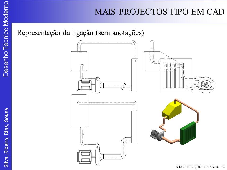 Silva, Ribeiro, Dias, Sousa Desenho Técnico Moderno MAIS PROJECTOS TIPO EM CAD © LIDEL EDIÇÕES TÉCNICAS 12 Representação da ligação (sem anotações)