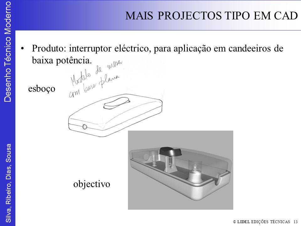 Silva, Ribeiro, Dias, Sousa Desenho Técnico Moderno MAIS PROJECTOS TIPO EM CAD © LIDEL EDIÇÕES TÉCNICAS 13 Produto: interruptor eléctrico, para aplicação em candeeiros de baixa potência.