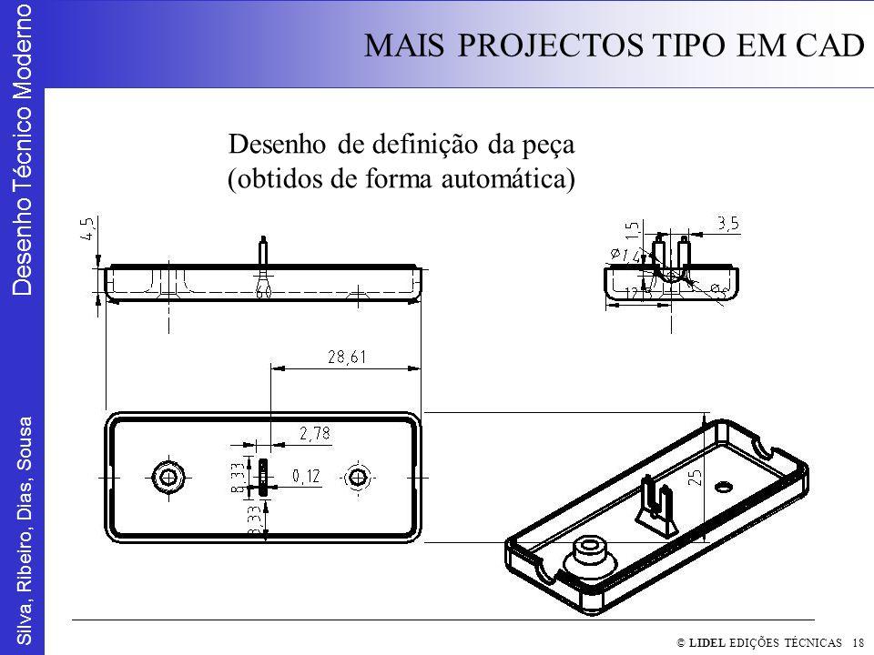 Silva, Ribeiro, Dias, Sousa Desenho Técnico Moderno MAIS PROJECTOS TIPO EM CAD © LIDEL EDIÇÕES TÉCNICAS 18 Desenho de definição da peça (obtidos de forma automática)