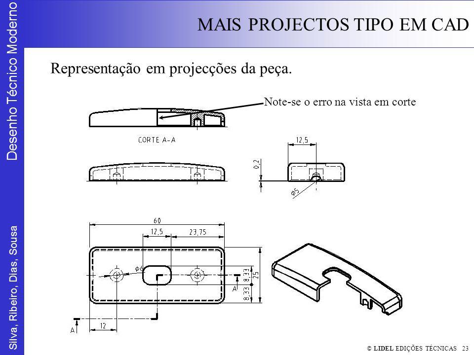 Silva, Ribeiro, Dias, Sousa Desenho Técnico Moderno MAIS PROJECTOS TIPO EM CAD © LIDEL EDIÇÕES TÉCNICAS 23 Representação em projecções da peça.