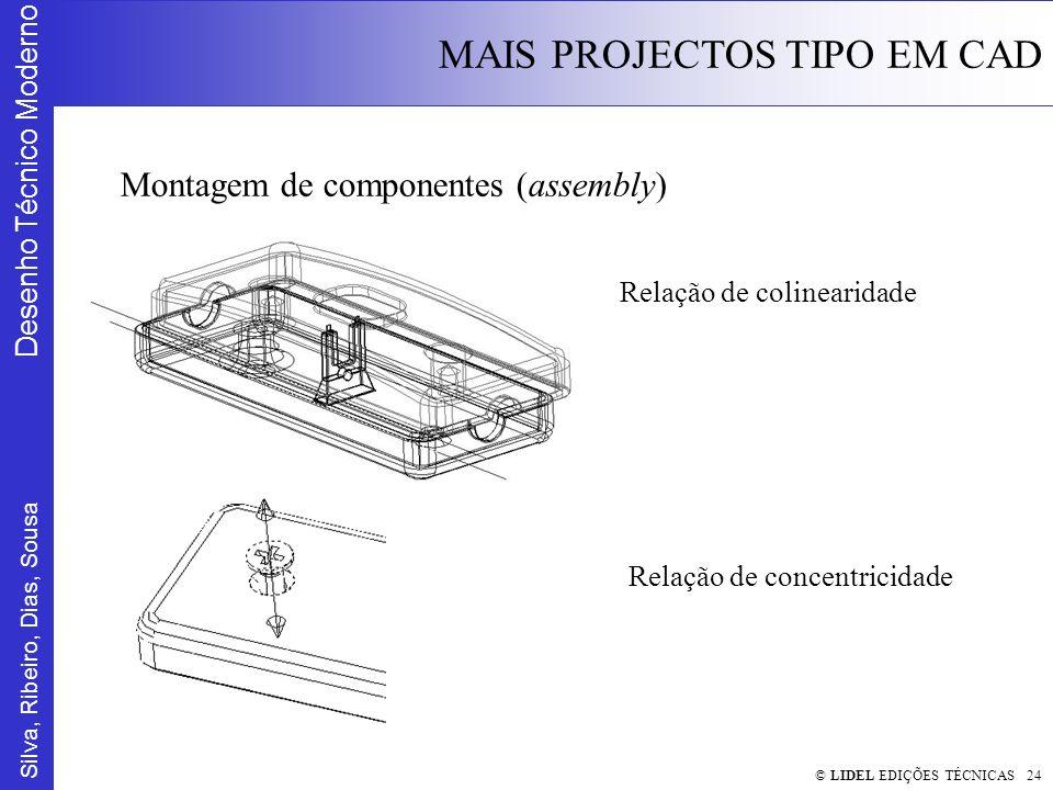 Silva, Ribeiro, Dias, Sousa Desenho Técnico Moderno MAIS PROJECTOS TIPO EM CAD © LIDEL EDIÇÕES TÉCNICAS 24 Montagem de componentes (assembly) Relação de colinearidade Relação de concentricidade