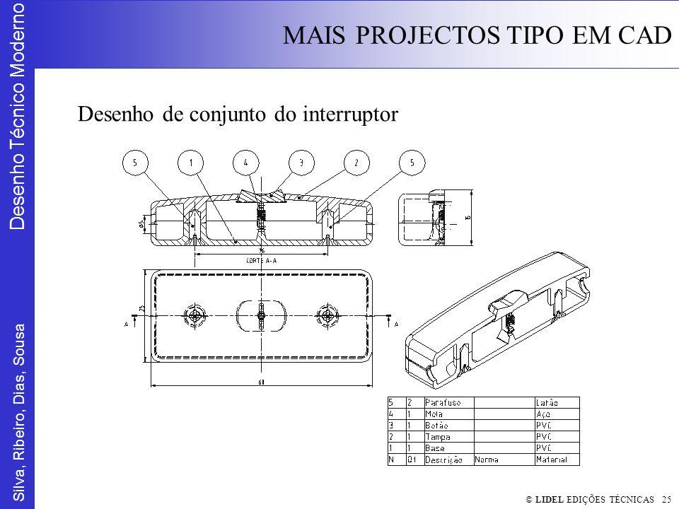Silva, Ribeiro, Dias, Sousa Desenho Técnico Moderno MAIS PROJECTOS TIPO EM CAD © LIDEL EDIÇÕES TÉCNICAS 25 Desenho de conjunto do interruptor