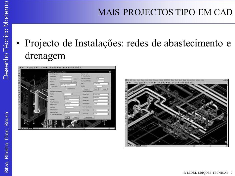 Silva, Ribeiro, Dias, Sousa Desenho Técnico Moderno MAIS PROJECTOS TIPO EM CAD © LIDEL EDIÇÕES TÉCNICAS 9 Projecto de Instalações: redes de abastecimento e drenagem