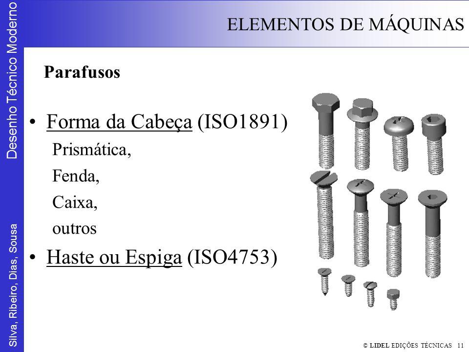 Silva, Ribeiro, Dias, Sousa Desenho Técnico Moderno ELEMENTOS DE MÁQUINAS © LIDEL EDIÇÕES TÉCNICAS 11 Forma da Cabeça (ISO1891) Prismática, Fenda, Cai