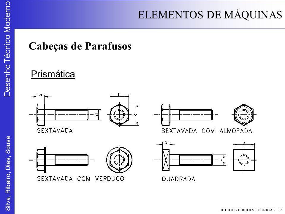 Silva, Ribeiro, Dias, Sousa Desenho Técnico Moderno ELEMENTOS DE MÁQUINAS © LIDEL EDIÇÕES TÉCNICAS 12 Cabeças de Parafusos Prismática