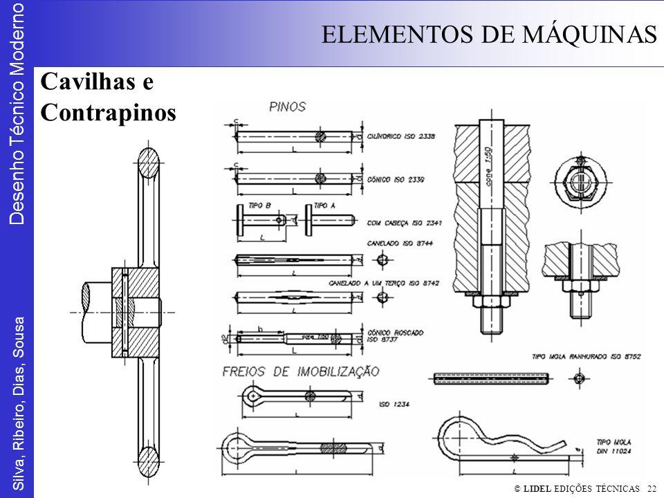 Silva, Ribeiro, Dias, Sousa Desenho Técnico Moderno ELEMENTOS DE MÁQUINAS © LIDEL EDIÇÕES TÉCNICAS 22 Cavilhas e Contrapinos