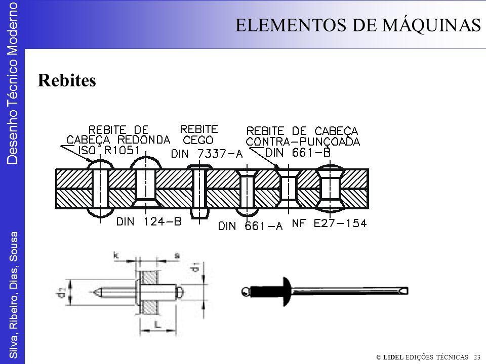 Silva, Ribeiro, Dias, Sousa Desenho Técnico Moderno ELEMENTOS DE MÁQUINAS © LIDEL EDIÇÕES TÉCNICAS 23 Rebites