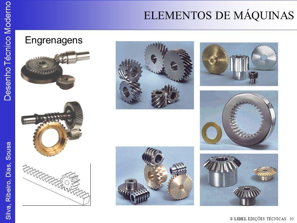 Silva, Ribeiro, Dias, Sousa Desenho Técnico Moderno ELEMENTOS DE MÁQUINAS © LIDEL EDIÇÕES TÉCNICAS 30 Engrenagens
