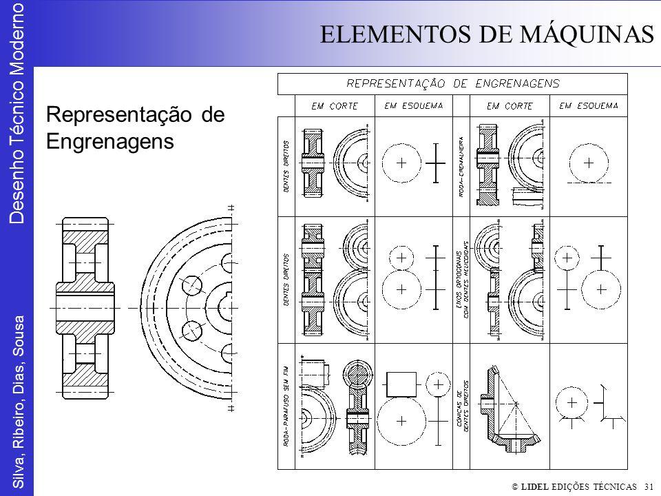 Silva, Ribeiro, Dias, Sousa Desenho Técnico Moderno ELEMENTOS DE MÁQUINAS © LIDEL EDIÇÕES TÉCNICAS 31 Representação de Engrenagens