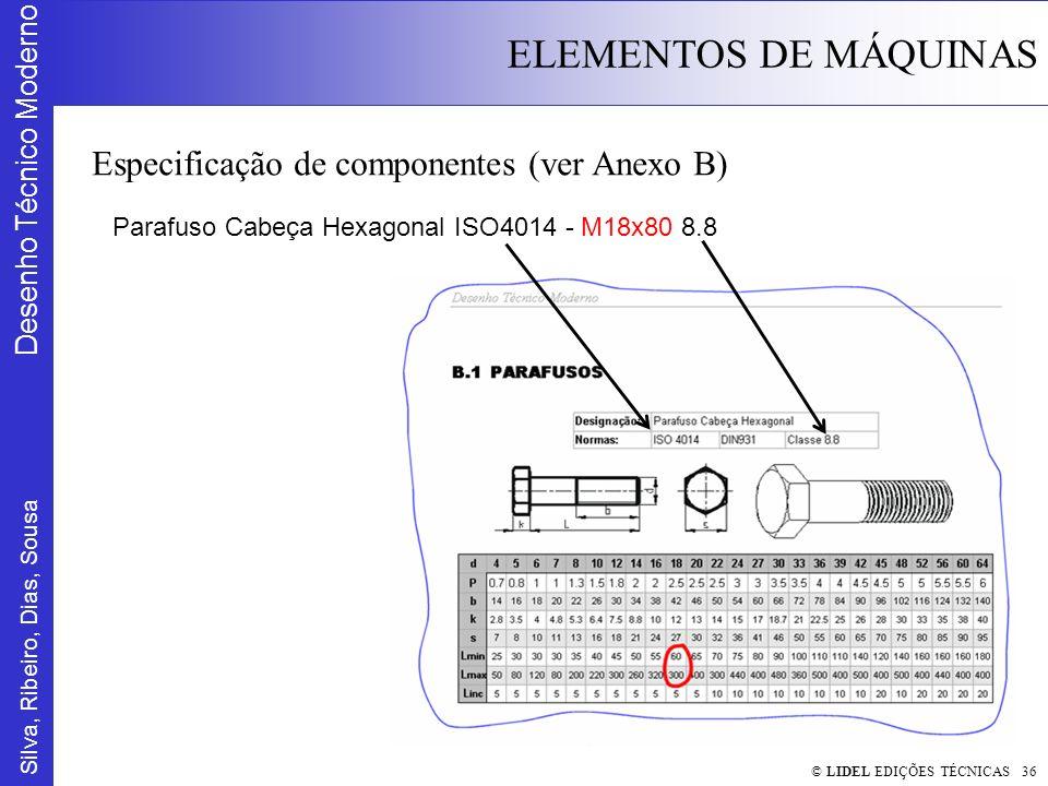 Silva, Ribeiro, Dias, Sousa Desenho Técnico Moderno ELEMENTOS DE MÁQUINAS © LIDEL EDIÇÕES TÉCNICAS 36 Especificação de componentes (ver Anexo B) Paraf