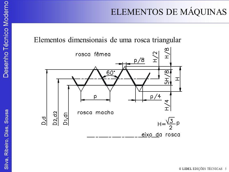 Silva, Ribeiro, Dias, Sousa Desenho Técnico Moderno ELEMENTOS DE MÁQUINAS © LIDEL EDIÇÕES TÉCNICAS 36 Especificação de componentes (ver Anexo B) Parafuso Cabeça Hexagonal ISO4014 - M18x80 8.8