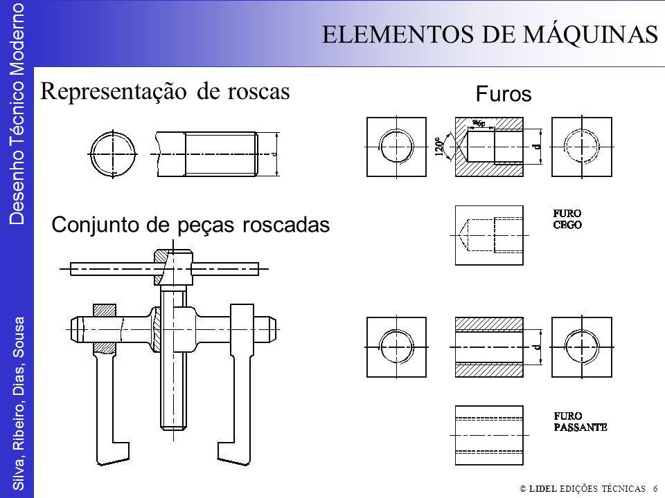Silva, Ribeiro, Dias, Sousa Desenho Técnico Moderno ELEMENTOS DE MÁQUINAS © LIDEL EDIÇÕES TÉCNICAS 7 Cotagem de Roscas ISO (métrica) (M) Whitworth Gás (G) Rectangular (R) Trapezoidal (Tr) Dente de serra (S) Redonda (Rd)
