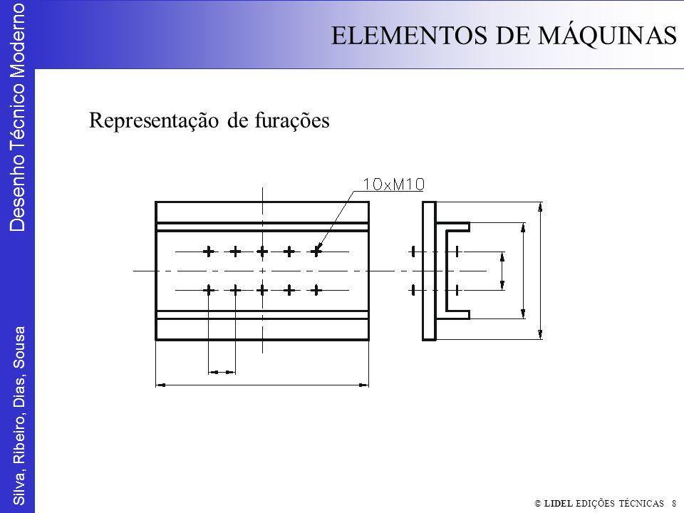 Silva, Ribeiro, Dias, Sousa Desenho Técnico Moderno ELEMENTOS DE MÁQUINAS © LIDEL EDIÇÕES TÉCNICAS 9 Representação simbólica de furos