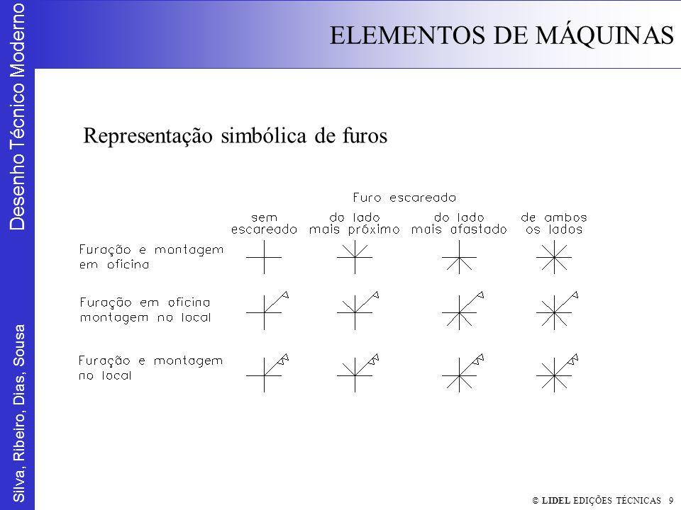 Silva, Ribeiro, Dias, Sousa Desenho Técnico Moderno ELEMENTOS DE MÁQUINAS © LIDEL EDIÇÕES TÉCNICAS 10 Representação simbólica de furos e ligações