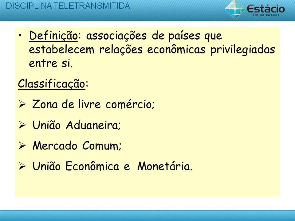 Definição: associações de países que estabelecem relações econômicas privilegiadas entre si. Classificação: Zona de livre comércio; União Aduaneira; M