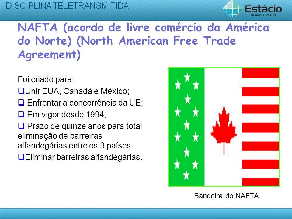 NAFTA (acordo de livre comércio da América do Norte) (North American Free Trade Agreement) Foi criado para: Unir EUA, Canadá e México; Enfrentar a con