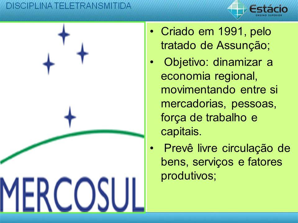 Criado em 1991, pelo tratado de Assunção; Objetivo: dinamizar a economia regional, movimentando entre si mercadorias, pessoas, força de trabalho e cap