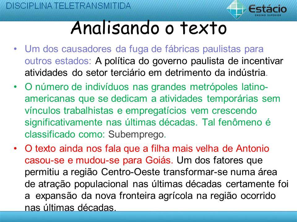 Analisando o texto Um dos causadores da fuga de fábricas paulistas para outros estados: A política do governo paulista de incentivar atividades do set