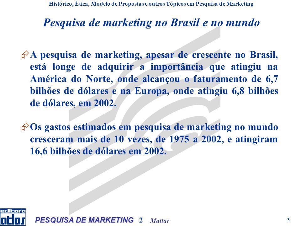 Mattar PESQUISA DE MARKETING 2 3 Pesquisa de marketing no Brasil e no mundo A pesquisa de marketing, apesar de crescente no Brasil, está longe de adquirir a importância que atingiu na América do Norte, onde alcançou o faturamento de 6,7 bilhões de dólares e na Europa, onde atingiu 6,8 bilhões de dólares, em 2002.