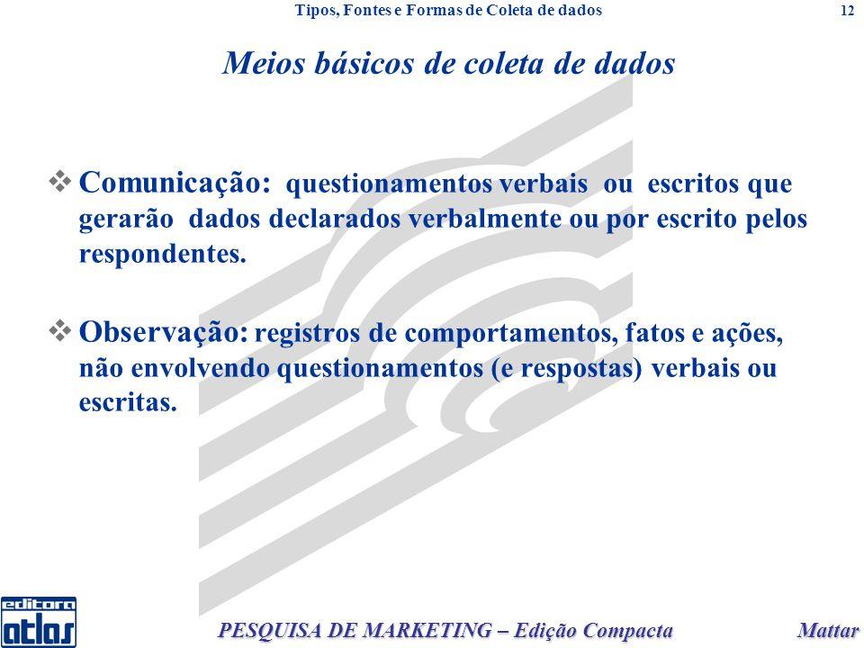 Mattar PESQUISA DE MARKETING – Edição Compacta 12 Comunicação: questionamentos verbais ou escritos que gerarão dados declarados verbalmente ou por esc