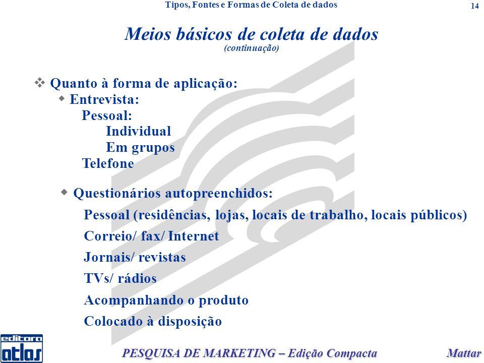 Mattar PESQUISA DE MARKETING – Edição Compacta 14 Quanto à forma de aplicação: Entrevista: Pessoal: Individual Em grupos Telefone Questionários autopreenchidos: Pessoal (residências, lojas, locais de trabalho, locais públicos) Correio/ fax/ Internet Jornais/ revistas TVs/ rádios Acompanhando o produto Colocado à disposição Meios básicos de coleta de dados (continuação) Tipos, Fontes e Formas de Coleta de dados