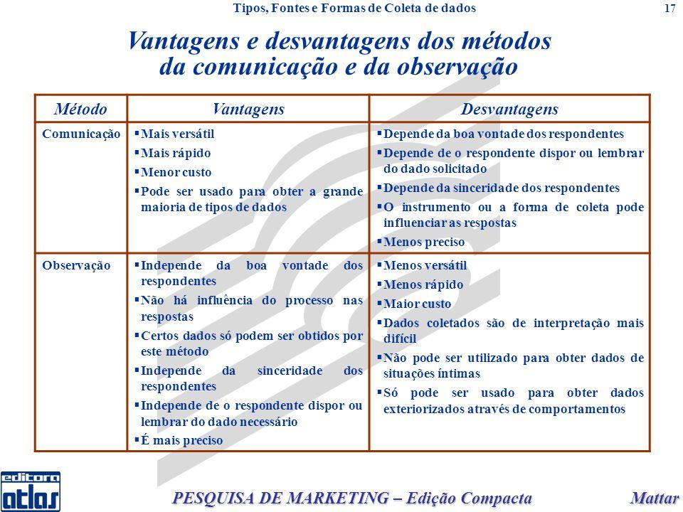 Mattar PESQUISA DE MARKETING – Edição Compacta 17 Vantagens e desvantagens dos métodos da comunicação e da observação MétodoVantagensDesvantagens Comu