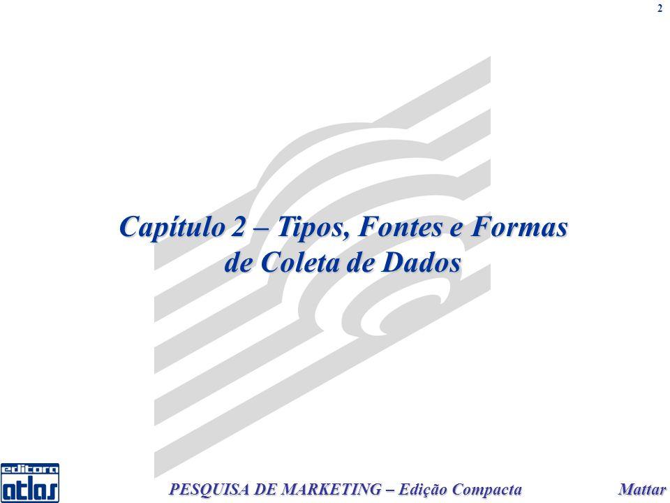 Mattar PESQUISA DE MARKETING – Edição Compacta 2 Capítulo 2 – Tipos, Fontes e Formas de Coleta de Dados