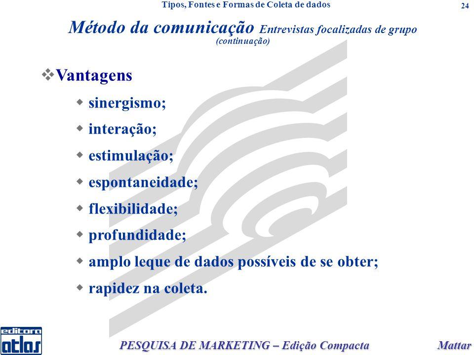 Mattar PESQUISA DE MARKETING – Edição Compacta 24 Vantagens sinergismo; interação; estimulação; espontaneidade; flexibilidade; profundidade; amplo leq