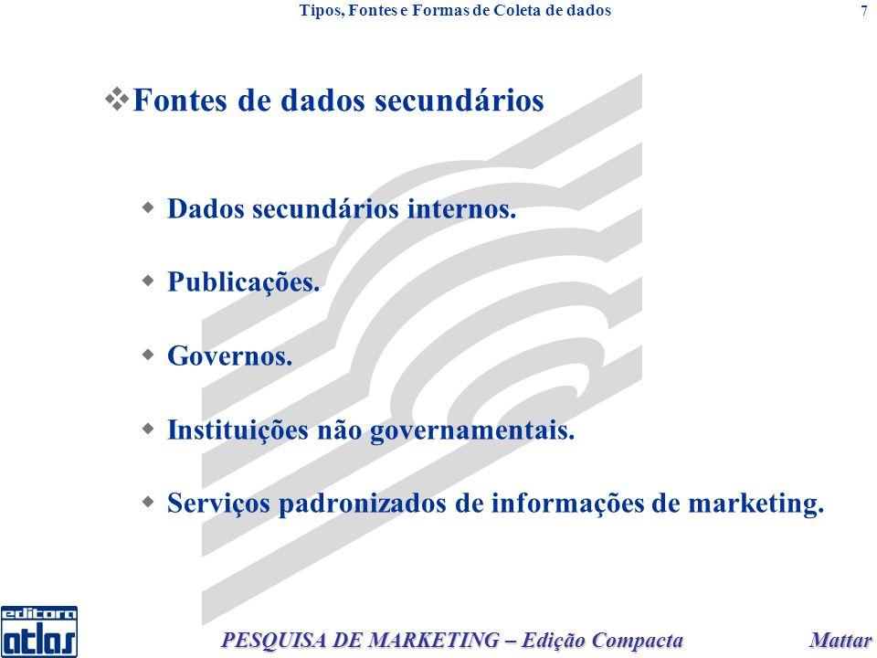 Mattar PESQUISA DE MARKETING – Edição Compacta 7 Fontes de dados secundários Dados secundários internos. Publicações. Governos. Instituições não gover
