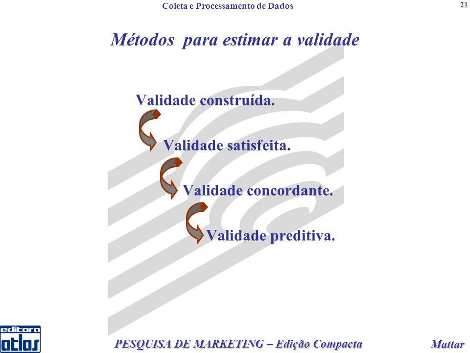 2 PESQUISA DE MARKETING – Edição Compacta Mattar Mattar 21 Métodos para estimar a validade Validade construída.