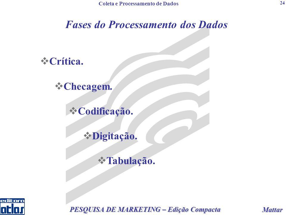 2 PESQUISA DE MARKETING – Edição Compacta Mattar Mattar 24 Fases do Processamento dos Dados Crítica.