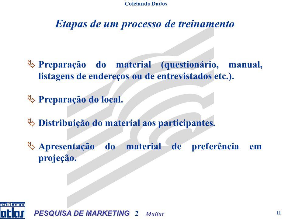 Mattar PESQUISA DE MARKETING 2 11 Etapas de um processo de treinamento Coletando Dados Preparação do material (questionário, manual, listagens de endereços ou de entrevistados etc.).