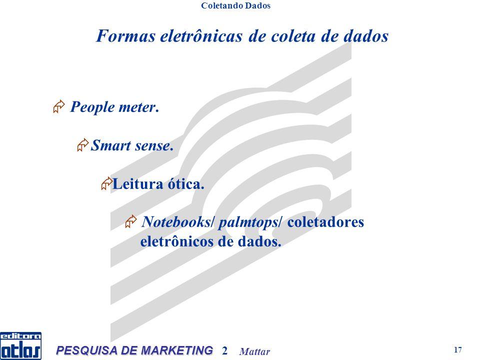 Mattar PESQUISA DE MARKETING 2 17 Formas eletrônicas de coleta de dados People meter.