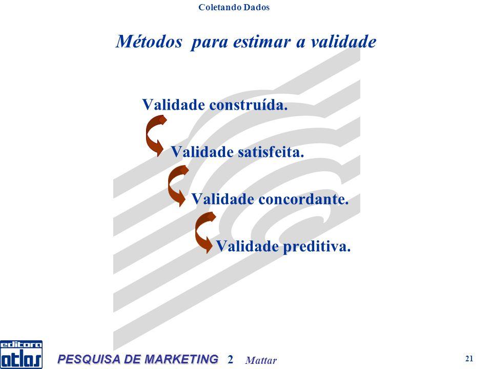 Mattar PESQUISA DE MARKETING 2 21 Métodos para estimar a validade Coletando Dados Validade construída.