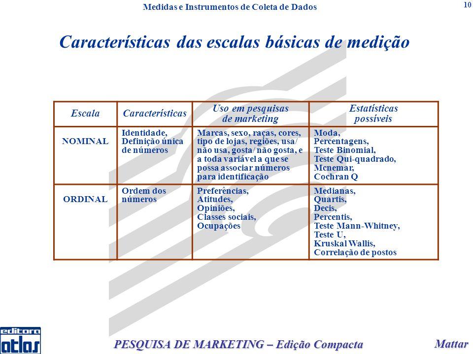 Mattar Mattar PESQUISA DE MARKETING – Edição Compacta 10 EscalaCaracterísticas Uso em pesquisas de marketing Estatísticas possíveis NOMINAL Identidade