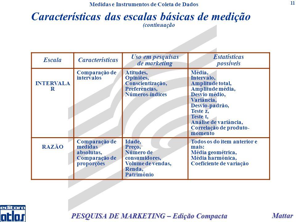 Mattar Mattar PESQUISA DE MARKETING – Edição Compacta 11 EscalaCaracterísticas Uso em pesquisas de marketing Estatísticas possíveis INTERVALA R Compar