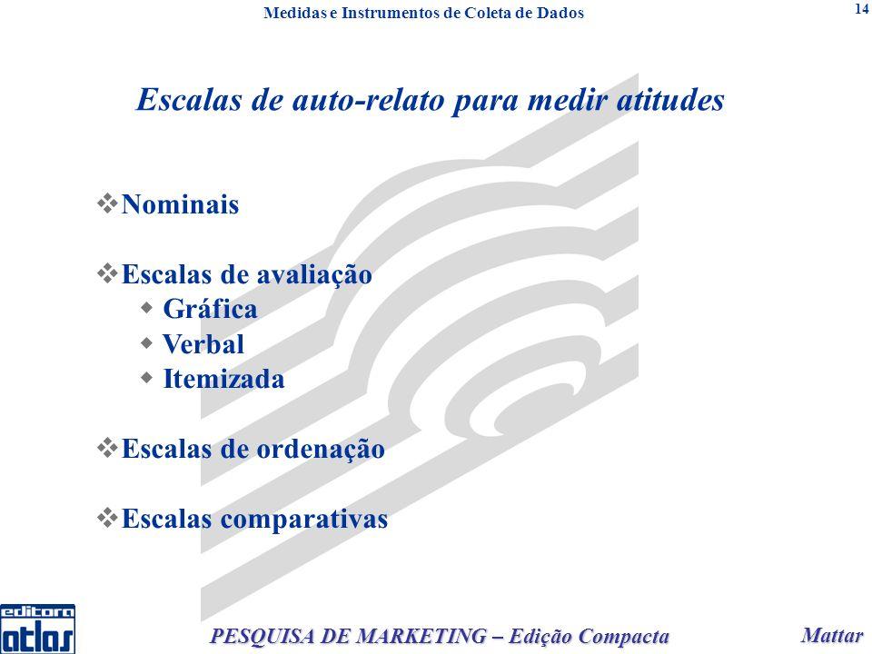 Mattar Mattar PESQUISA DE MARKETING – Edição Compacta 14 Nominais Escalas de avaliação Gráfica Verbal Itemizada Escalas de ordenação Escalas comparati