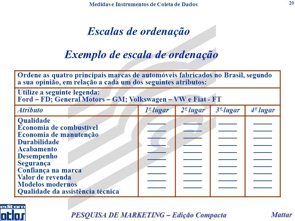 Mattar Mattar PESQUISA DE MARKETING – Edição Compacta 20 Exemplo de escala de ordenação Ordene as quatro principais marcas de automóveis fabricados no