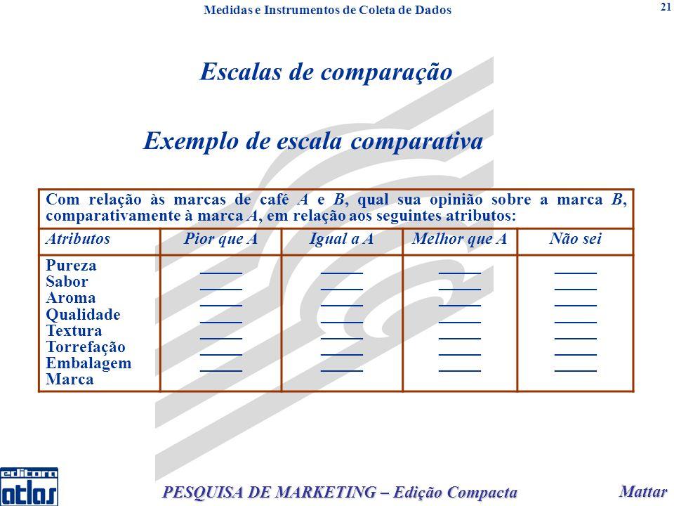 Mattar Mattar PESQUISA DE MARKETING – Edição Compacta 21 Exemplo de escala comparativa Com relação às marcas de café A e B, qual sua opinião sobre a m