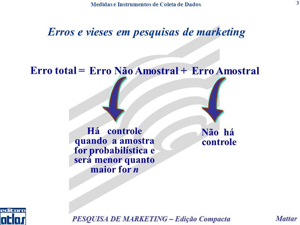 Mattar Mattar PESQUISA DE MARKETING – Edição Compacta 3 Erros e vieses em pesquisas de marketing Há controle quando a amostra for probabilística e ser