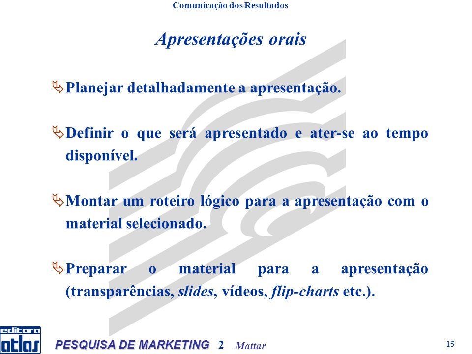 Mattar PESQUISA DE MARKETING 2 15 Planejar detalhadamente a apresentação.