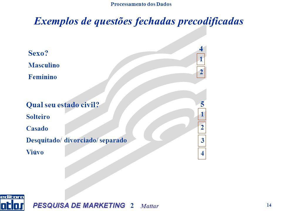 Mattar PESQUISA DE MARKETING 2 14 Exemplos de questões fechadas precodificadas Processamento dos Dados Sexo.