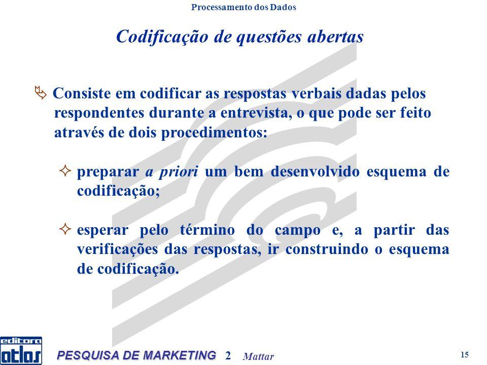 Mattar PESQUISA DE MARKETING 2 15 Codificação de questões abertas Processamento dos Dados Consiste em codificar as respostas verbais dadas pelos respo