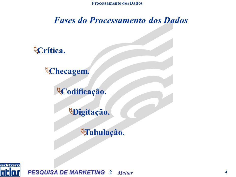 Mattar PESQUISA DE MARKETING 2 4 Processamento dos Dados Fases do Processamento dos Dados Crítica. Checagem. Codificação. Digitação. Tabulação.