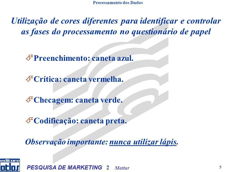 Mattar PESQUISA DE MARKETING 2 5 Preenchimento: caneta azul. Crítica: caneta vermelha. Checagem: caneta verde. Codificação: caneta preta. Observação i