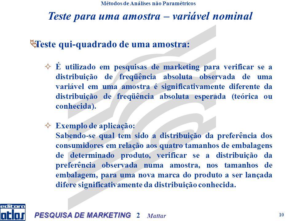 Mattar PESQUISA DE MARKETING 2 10 Teste para uma amostra – variável nominal Métodos de Análises não Paramétricos Teste qui-quadrado de uma amostra: É
